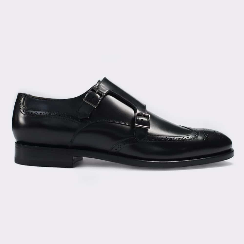 Black Double Monks with Brogue