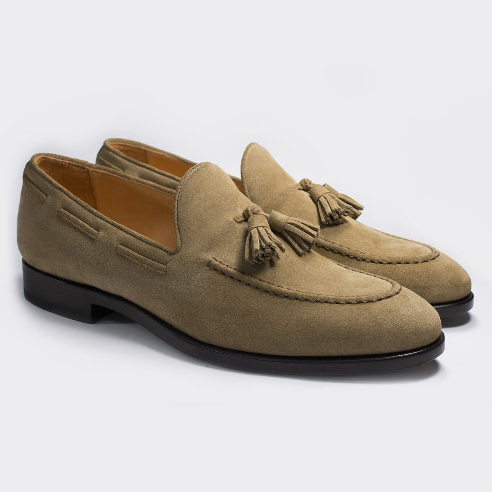 Tassel Loafers made of sand colored suede leather by Monokel Berlin