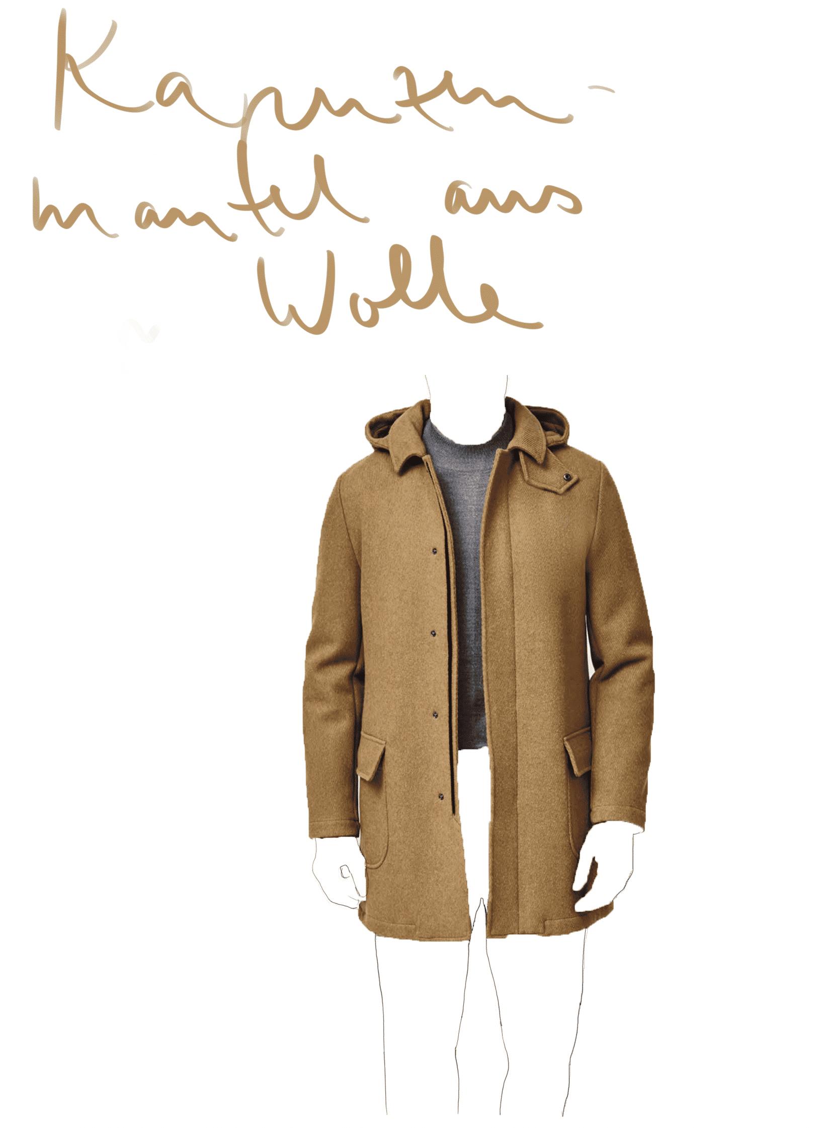 Kapuzenmantel Wolle